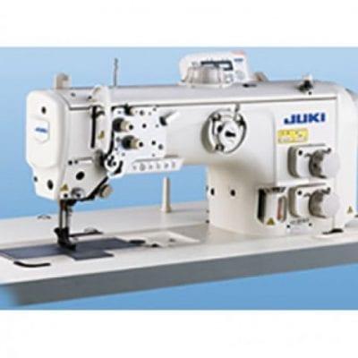 Máquina de coser industrial de triple arrastre con dos agujas. Juki lu 2860.